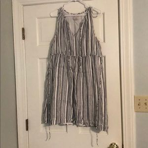 Gently worn navy and white stripped dress